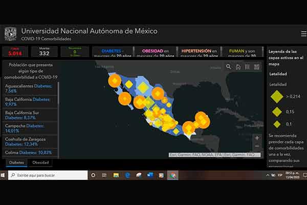 Instala UNAM plataforma de información geográfica sobre COVID-19 en MÉXICO