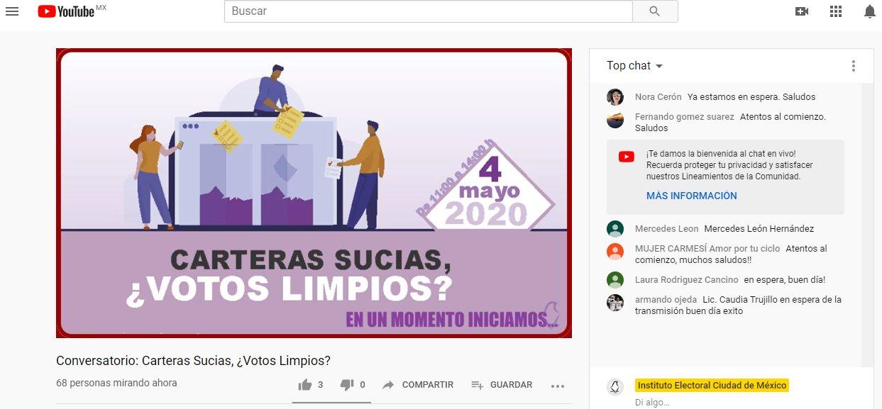 "Realiza IECM conversatorio virtual: ""Carteras sucias ¿votos limpios?"""