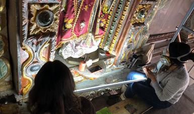 Restauración por sismos revela la historia del retablo de San Felipe Ecatepec, en Chiapas