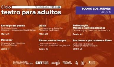 La Coordinación Nacional de Teatro presenta Ciclo de Teatro para Adultos