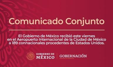 El Gobierno de México recibió este viernes en el Aeropuerto Internacional de la Cdmx a 189  connacionales procedentes de Estados Unidos