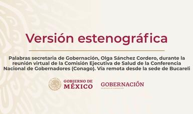 Palabras secretaria, Olga Sánchez Cordero, durante la reunión virtual de la Comisión Ejecutiva de Salud de la Conago