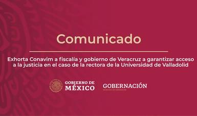 Exhorta Conavim a fiscalía y gobierno de Veracruz a garantizar acceso a la justicia en el caso de la rectora de la Universidad de Valladolid