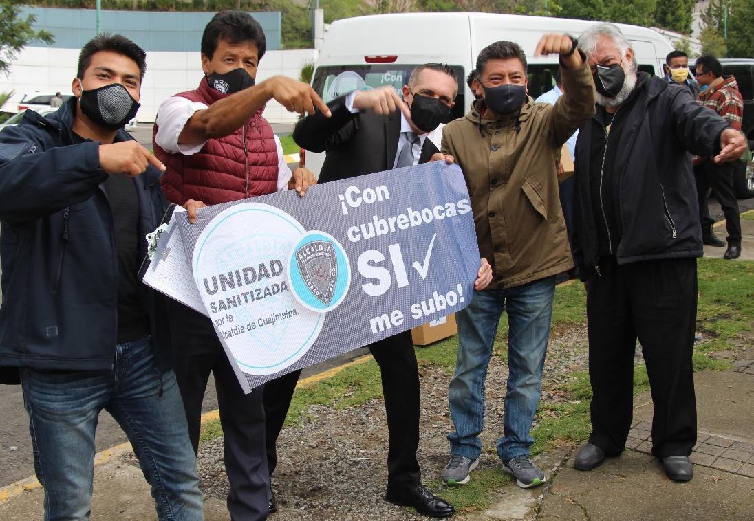 Alcaldía Cuajimalpa y transporte público promueven campaña de uso obligatorio de cubrebocas