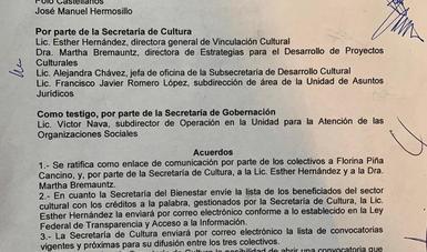 """Entablan diálogo Secretaría de Cultura y representantes de colectivos artísticos en torno a """"Contigo, Banco de Producciones"""""""