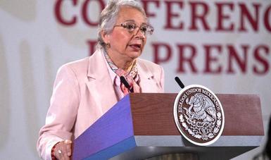 Participación de la secretaria de Gobernación, Olga Sánchez Cordero, en la conferencia matutina del presidente Andrés Manuel López Obrador.