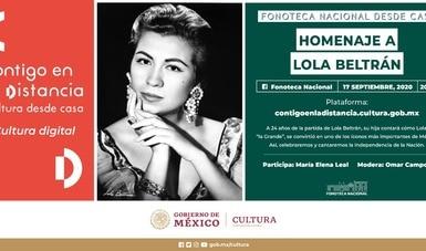 """Rendirán homenaje a Lola Beltrán en próxima emisión de """"Fonoteca Nacional desde casa"""""""
