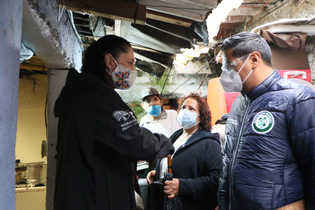 Recorre Jefa de Gobierno viviendas afectadas por lluvias en Magdalena Contreras, Coyoacán y Tlalpan