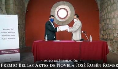 Imanol Caneyada recibe el Premio Bellas Artes de Novela José Rubén Romero 2020