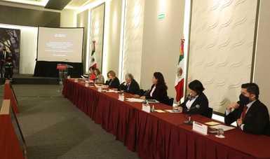 Octava rueda de prensa mensual del GIEV, encabezada por la secretaria de Gobernación, Olga Sánchez Cordero