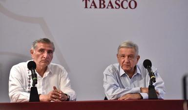 El pueblo de Tabasco cuenta con el gobierno de la República, afirma presidente al encabezar conferencia de prensa en Villahermosa