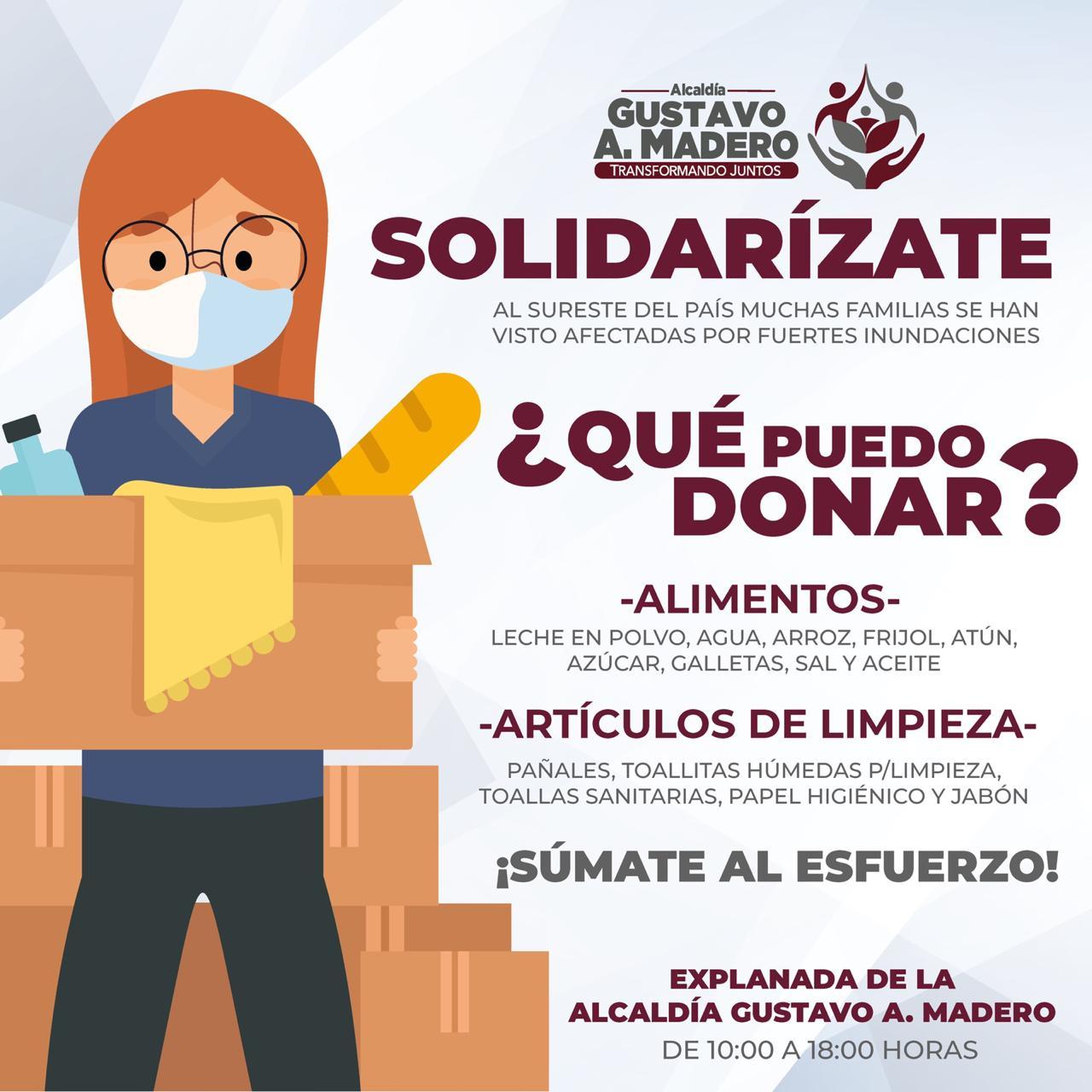 La alcaldía Gustavo A. Madero instala carpa de donación para damnificados por fuertes inundaciones
