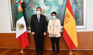El canciller Marcelo Ebrard se reunió con su homóloga española, Arancha González Laya