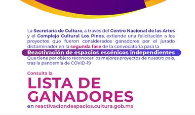 Secretaría de Cultura anuncia los ganadores de la segunda fase de la Convocatoria para la Reactivación de espacios escénicos independientes
