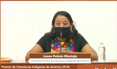 Juana Peñate Montejo, poeta ch'ol, recibió el Premio de Literatura Indígenas de América