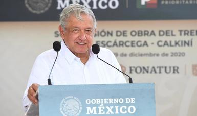 Tren Maya es una de las inversiones públicas más cuantiosas en décadas, afirma presidente en Calkiní