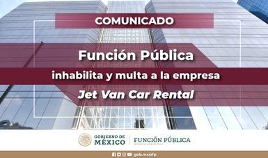 Función Pública inhabilita y multa a la empresa Jet Van Car Rental