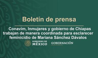 Conavim, Inmujeres y gobierno de Chiapas trabajan de manera coordinada para esclarecer feminicidio de Mariana Sánchez Dávalos