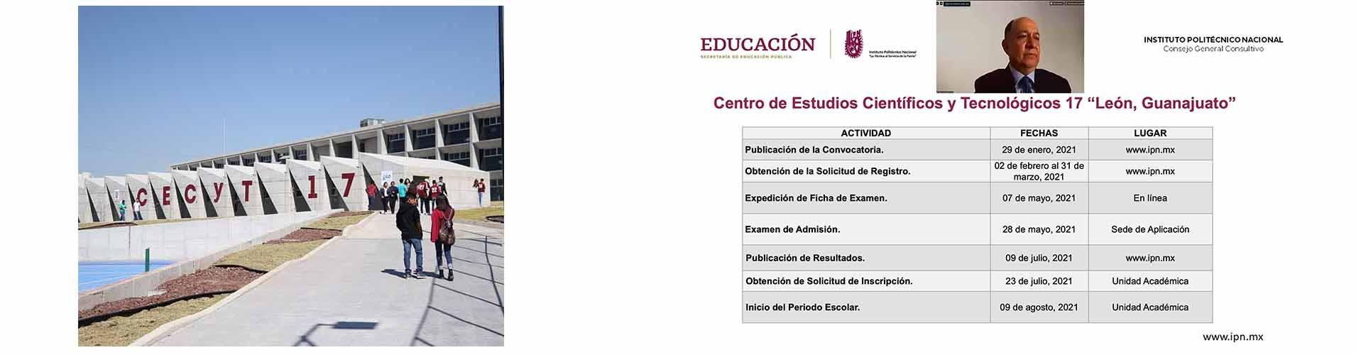 """Emitió IPN Convocatoria para el Bachillerato Bivalente del CECyT 17 """"León, Guanajuato"""" 2021-2022"""