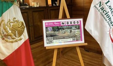 Develación del billete del Sorteo Zodiaco alusivo a la Zona Arqueológica Balcón de Montezuma, Tamaulipas