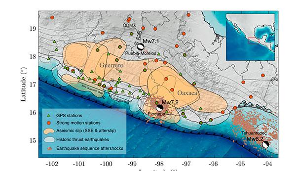 Los últimos cuatro terremotos de gran magnitud en México fueron precedidos por sismos lentos