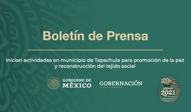 Inician actividades en municipio de Tapachula para promoción de la paz y reconstrucción del tejido social