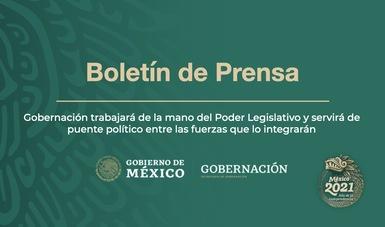 Gobernación trabajará de la mano del Poder Legislativo y servirá de puente político entre las fuerzas que lo integrarán