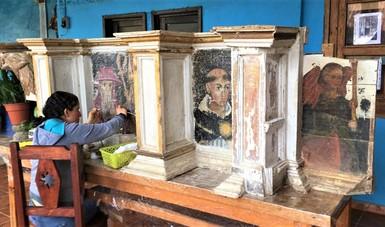 Concluye primera etapa de restauración del retablo del Templo de Santa María Huiramangaro, Michoacán