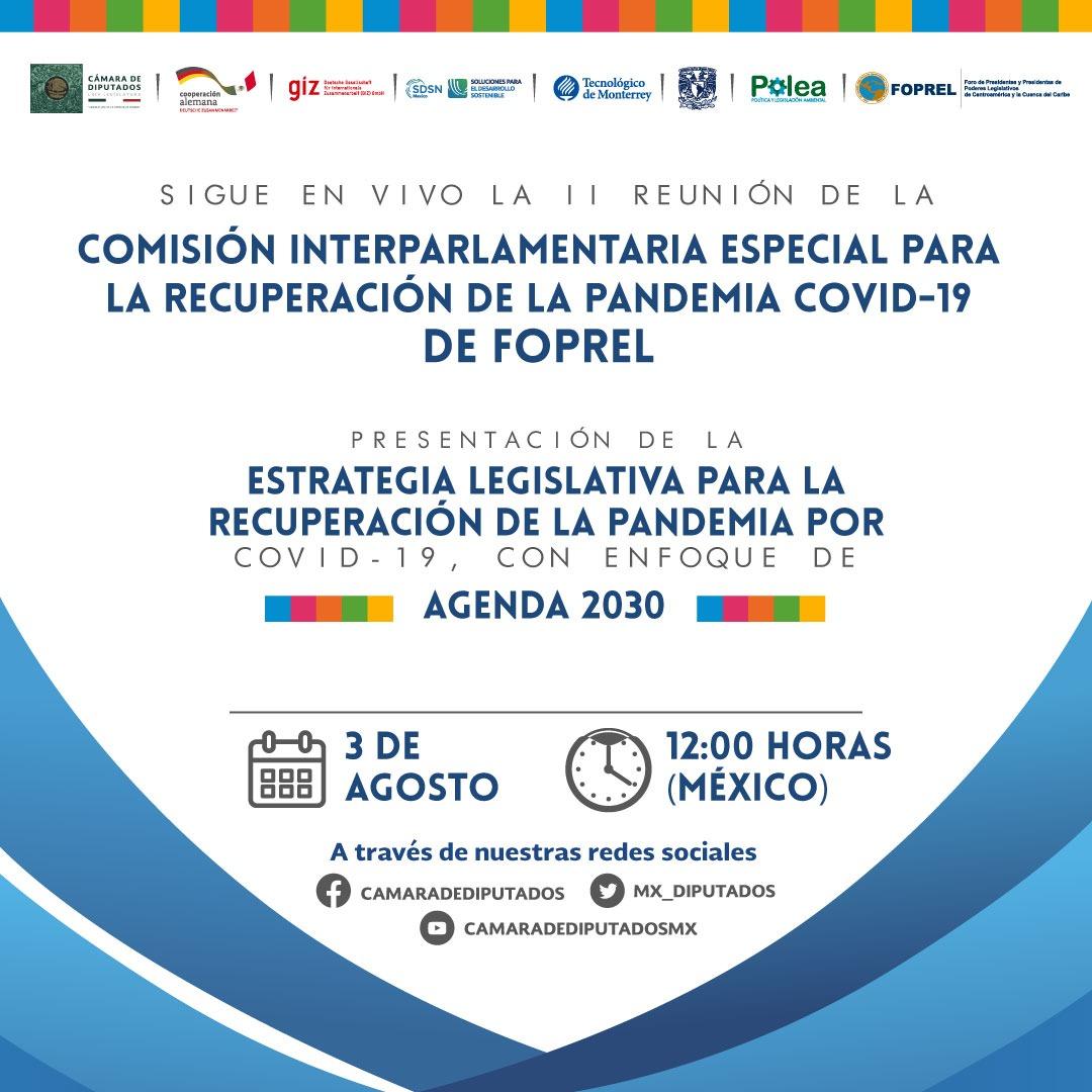 Realizarán la II Reunión de la Comisión Interparlamentaria Especial para la Recuperación de la Pandemia COVID-19