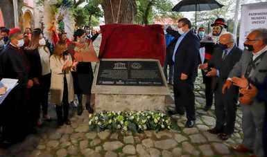 Develan placas conmemorativas por el nombramiento del Conjunto Conventual de Nuestra Señora de la Asunción como Patrimonio Mundial