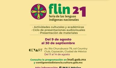 Actividades de la Feria de Lenguas Indígenas Nacionales (FLIN) 2021, se realizarán en el Centro Nacional de las Artes