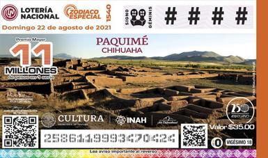 Billete de lotería presenta a Paquimé, riqueza arqueológica de Chihuahua