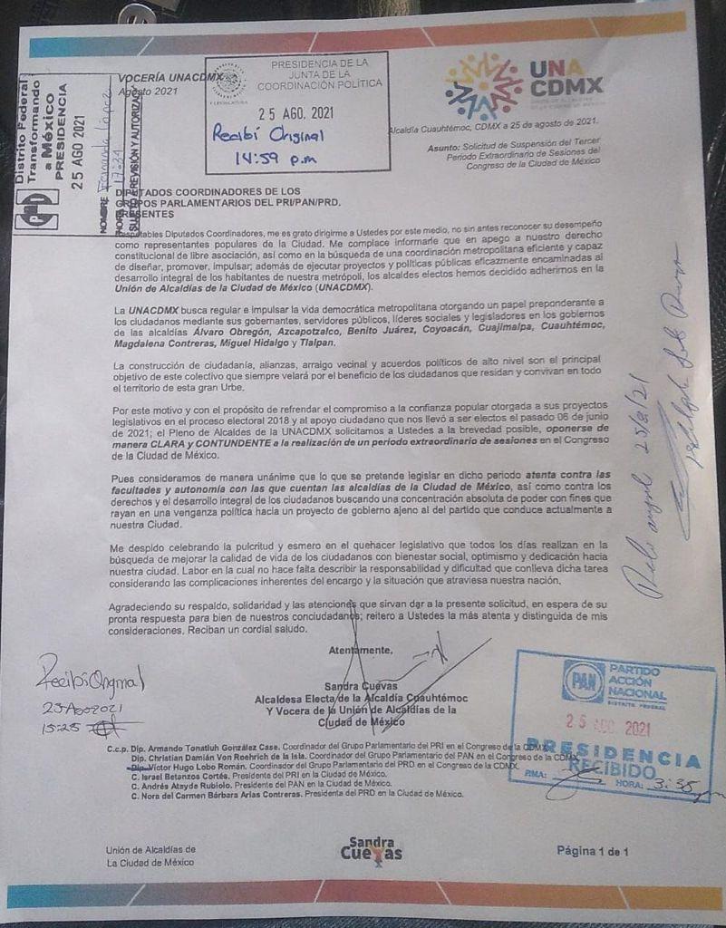 UNACDMX solicita suspender el 3er periodo extraordinario de sesiones en el Congreso de la CDMXpor ser contrario al interés ciudadano