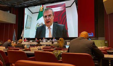 Canciller Marcelo Ebrard llama a la comunidad internacional a reforzar el control transfronterizo de armas