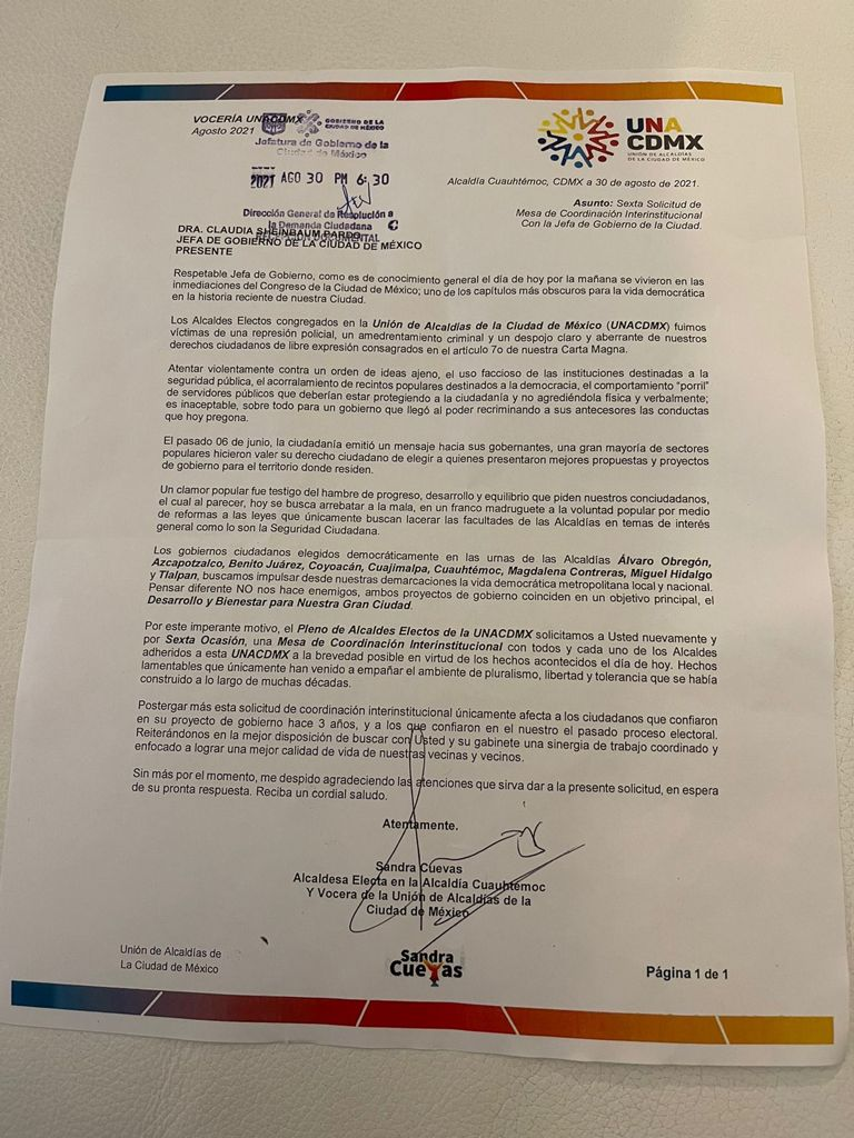 La agresión policiaca hacia alcaldes electos de la UNACDMX obliga a una reunión inmediata con la Jefa de Gobierno, Claudia Sheinbaum