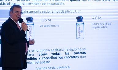 México superará hoy los 100 millones de vacunas acumuladas contra COVID-19 y espera terminar 2021 con 150 millones de dosis: Ebrard