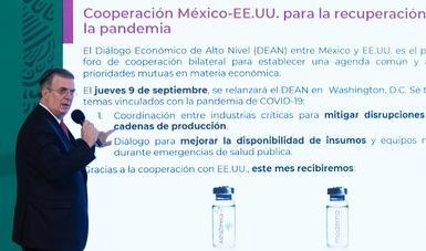 México espera alcanzar 120 millones de vacunas a principios de octubre: Ebrard