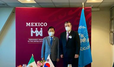 Reunión entre el canciller Marcelo Ebrard y el ministro de Asuntos Exteriores de la República de Corea, Chung Eui-yong
