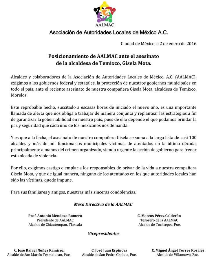 PRONUNCIAMIENTO DE AALMAC